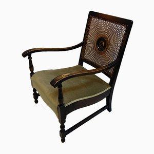 Viktorianischer Sessel mit Rückenlehne aus Geflecht, 1890er