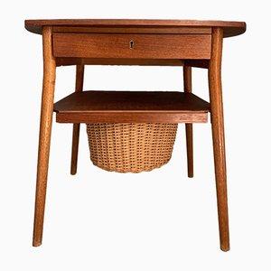Mesa de costura danesa Mid-Century de teca, años 60