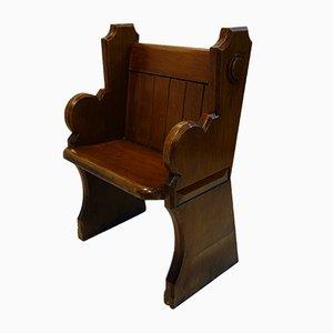 Chaise d'Église Victorienne Antique