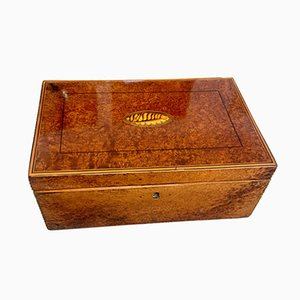 Biedermeier Thuja Roots, Maple & Ebony Casket Box, 1840s