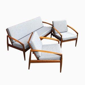 Danish Teak Paper Knife Easy Chairs by Kai Kristiansen, 1960s, Set of 2