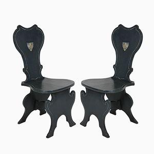Lackierte Vintage Beistellstühle, 2er Set