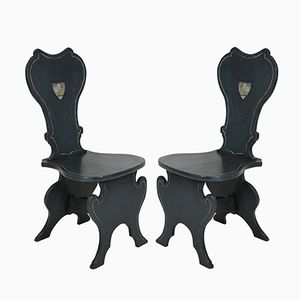 Vintage Painted Hall Chairs, Set of 2