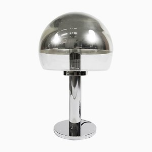 Nickel Plated Glass Mushroom Lamp from Bankamp, 1970s