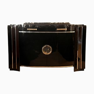 Art Deco Black Lacquer Sideboard, 1930s