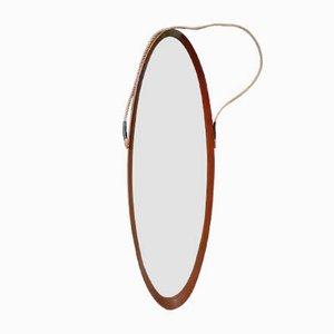 Espejo escandinavo ovalado de teca, años 50