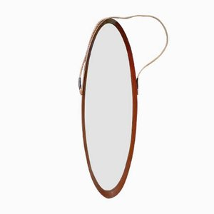 Scandinavian Oval Teak Mirror, 1950s