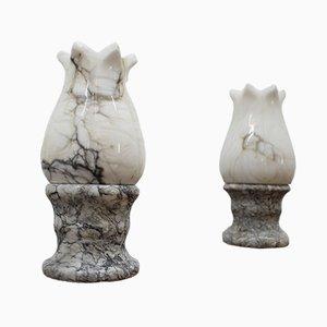 Lámparas de mesa de mármol, años 60. Juego de 2