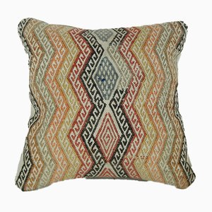 Handmade Embroidered Wool Mini Turkish Kilim Pillow Cover from Vintage Pillow Store Contemporary