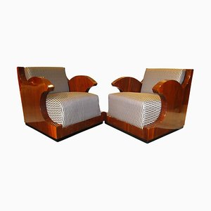 Art Deco French Walnut Veneer Club Chairs, 1920s, Set of 2