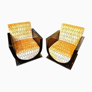 Art Deco French Black Club Chairs, 1920s, Set of 2