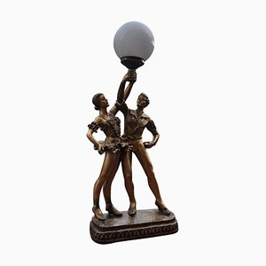 Art Deco Style Bronze Dancers Table Lamp, 1980s