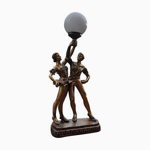 Lampe de Bureau Danseurs Style Art Déco en Bronze, 1980s