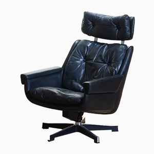 Black Leather Swivel Rosario Chair by Kurt Hvitsjö For Isku, 1960s