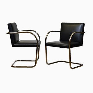 Tubular Steel & Black Leather Brno Chairs by Mies van der Rohe for Knoll, 1980s, Set of 2
