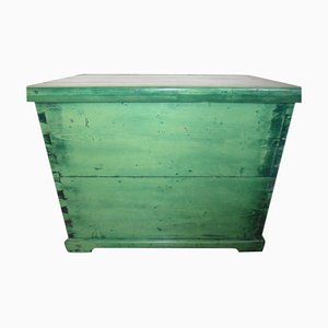 Antique Hungarian Green Pine Storage Trunk