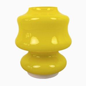 Lámpara de mesa alemana vintage de vidrio amarillo, años 60