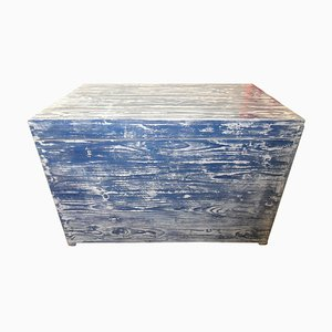 Antique Blue & White Painted Chest