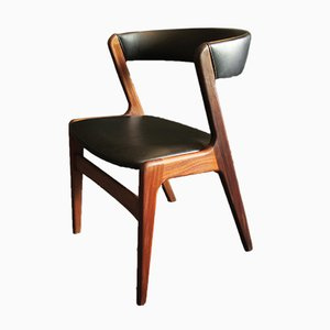 Danish Curved Teak and Leather Chair, 1960s