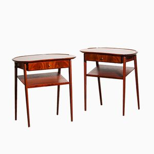 Slim Brass & Mahogany Nightstands, 1960s, Set of 2