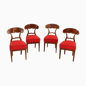 Biedermeier Austrian Walnut Chairs, 1840s, Set of 4