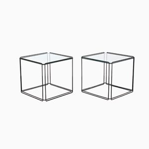 Vintage Metal and Glass Cube Side Tables by Max Sauze for Atrow, 1970s, Set of 2