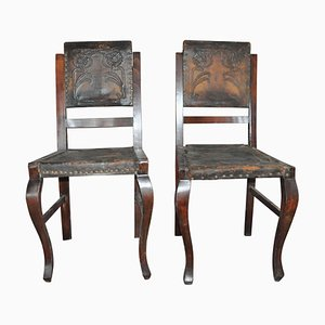 Antique Embossed Leather Dining Chairs, 1900s, Set of 2