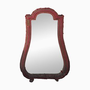 Antique Baroque Claret Velvet Mirror, 1790s