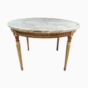 Early 20th Century Louis XVI Marble & Carved Gilded Wood Low Table