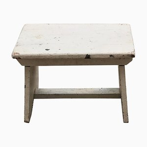 Vintage Hungarian White Milking Stool, 1940s