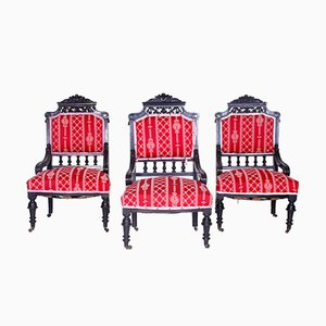 Antique Armchairs, 1850s, Set of 3