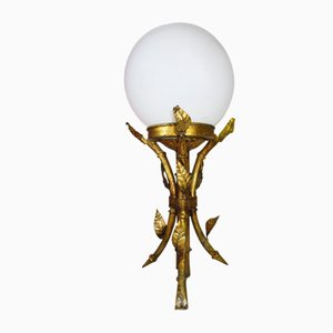 Golden Wrought Iron Faux Bamboo Table Lamp, 1950s