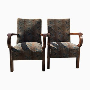 Art Deco Hungarian Walnut Armchairs, 1930s, Set of 2