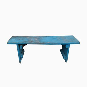 Antique Blue Painted Wooden Bench