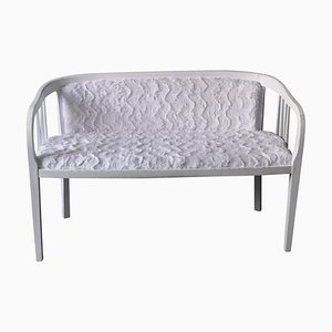 Art Nouveau Style White Painted & Upholstered Bench, 1940s