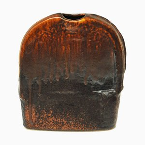 Rustic Flat Ceramic Vase by Heiner Balzar for Steuler, 1970s