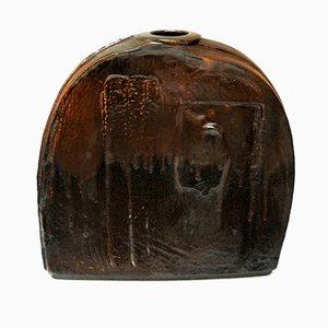 Jarrón rústico grande de cerámica plana de Heiner Balzar para Steuler, años 70