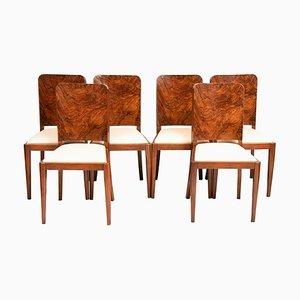 Britische Art Deco Esszimmerstühle, 1930er, 6er Set