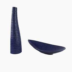 Blue Reptile Vase & Bowl by Stig Lindberg for Gustavsberg, 1960s