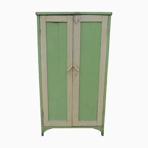 Vintage Green Painted Wardrobe, 1940s