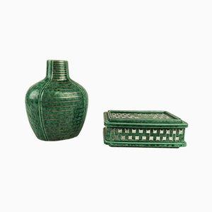 Art Deco Argenta Vase & Vanity Box by Wilhelm Kåge for Gustavsberg, 1930s
