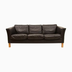 Black Leather 3-Seater Sofa by Mogens Hansen, 1970s