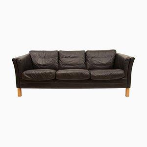 Sofá de tres plazas de cuero negro de Mogens Hansen, años 70