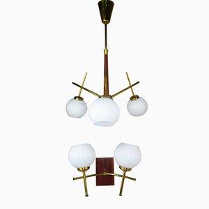 Mid-Century Decken- und Wandlampen Set aus Teakholz