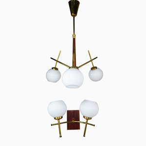Mid-Century Teak Ceiling & Wall Lamp Set