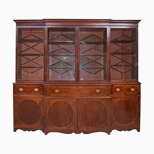 Large Antique Georgian Mahogany Bookcase with Secretaire, 1780s