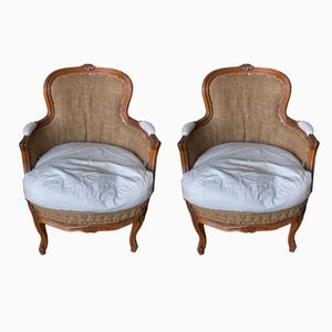 Antique French Walnut Bergere Arm Chairs, Set of 2