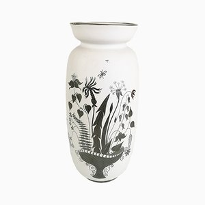 Large Ceramic Grazia Vase with Silver Overlay by Stig Lindberg for Gustavsberg, 1950s