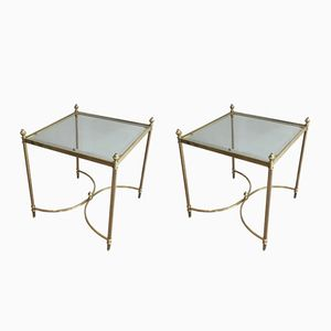 Neoclassical Chiseled Brass Side Tables, 1940s, Set of 2