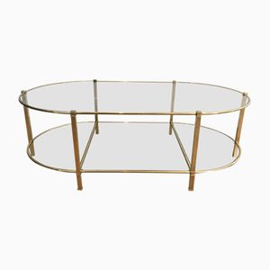 French Oval Brass Coffee Table, 1970s